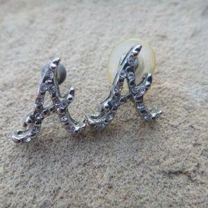 Vintage Rhinestone Letter A INITIAL  A Earrings